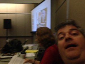 Trying to take a selfie just before we startthe Dinosaurs! Panel